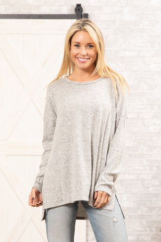 T8485-HCBR long sleeve high low brushed sweater knit tunic