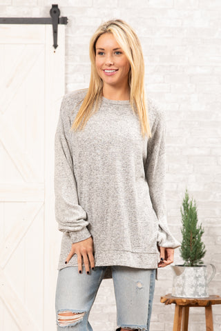 T8348-HCBR long sleeve brushed sweater knit top