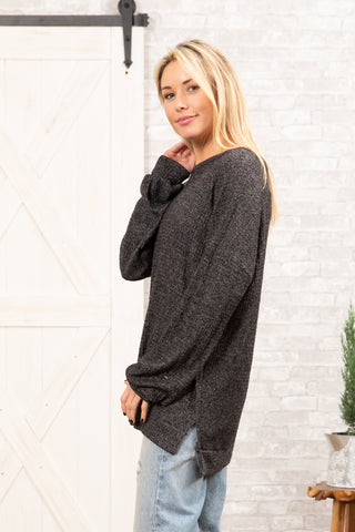 T8348-WFLE long sleeve brushed waffle knit top