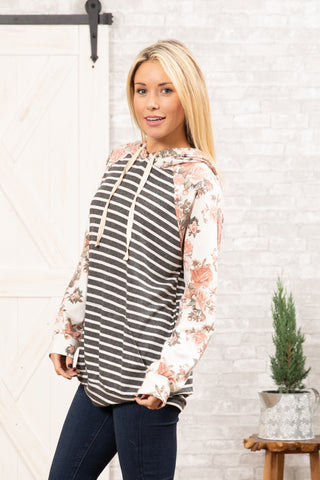 T8314-FL8 long sleeve floral stripes terry sweatshirt hoodie