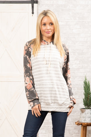 T8314-FL2A long sleeve floral stripes terry sweatshirt hoodie