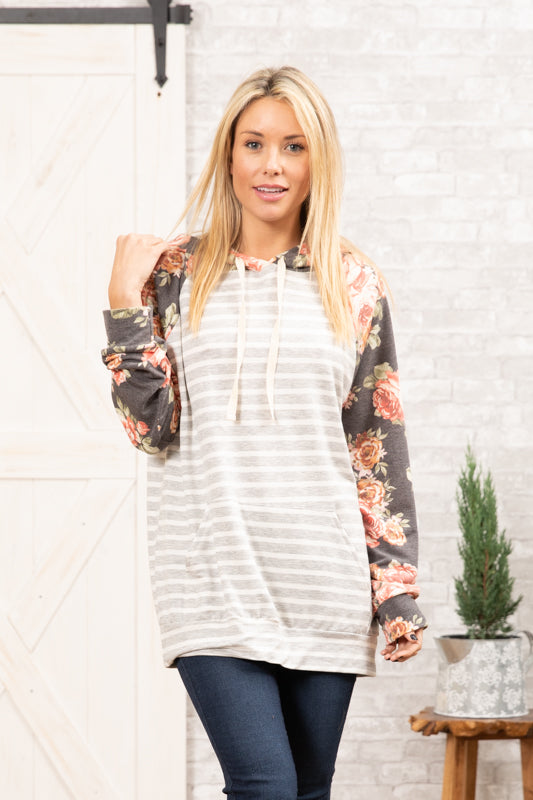 T8314-FL2C long sleeve floral stripes terry sweatshirt hoodie