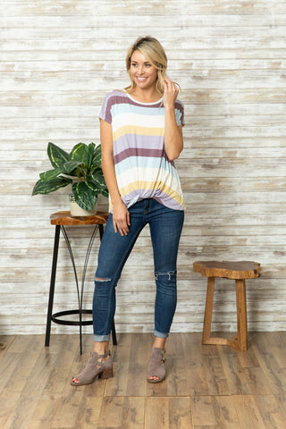 T8179-ST3 multicolored stripes top