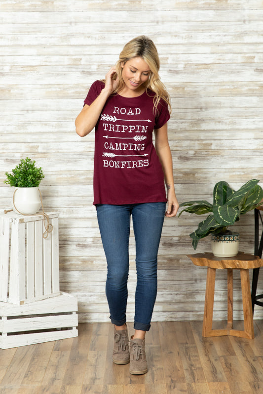 T5342 road trippin camping bonfires tee