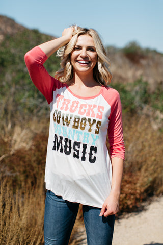 T6593 trucks cowboys and country music elbow baseball