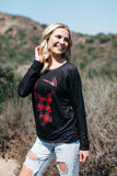 T3532 plaid deer #2 long sleeve sweatshirt