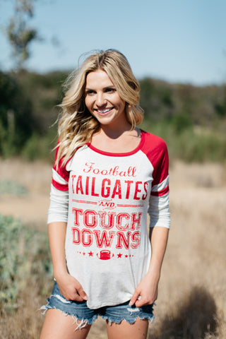 T7014 football tailgates and touchdowns stripe elbow baseball