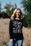 T3532 Jesus loves this hot mess long sleeve sweatshirt