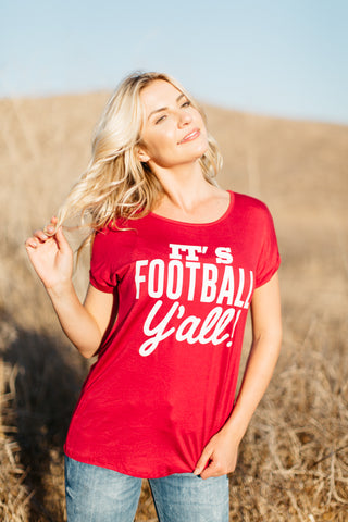 T5342-RED it's football yall tee