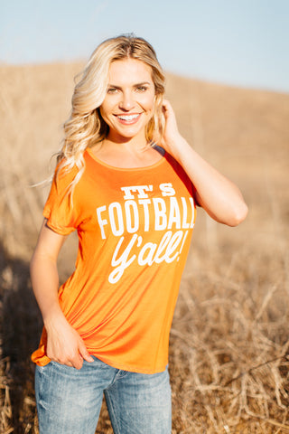 T5342-ORNGE it's football yall tee