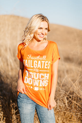 T5342-ORNGE football, tailgates and touchdowns tee