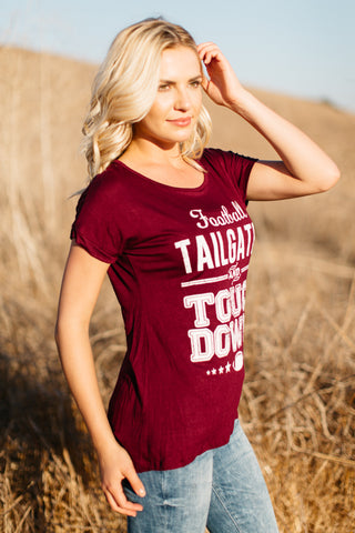 T5342-BURG football, tailgates and touchdowns tee