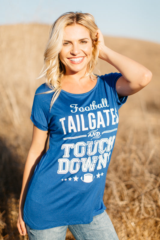 T5342 football, tailgates and touchdowns tee