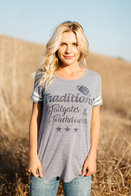 T7214 traditions tailgates and touchdowns tee