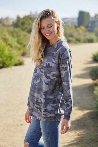 T3532X-CAMO camouflage long sleeve sweatshirt plus size