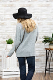 LSK1002-CHAR long sleeve sweater knit top