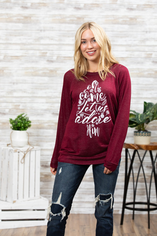 T3532 let us adore Him long sleeve sweatshirt