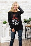 T3532X-PLMRYBR plaid deer be merry and bright long sleeve sweatshirt plus size