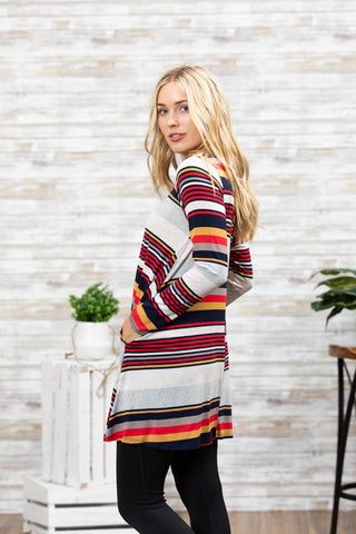 1d0e7f2e8c4 ... TU1420X-MSTA long sleeve varigated stripes side pockets sharkbite tunic  plus