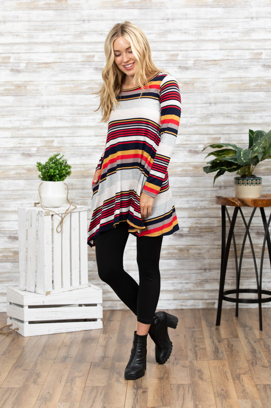 c237235b744 TU1420X-MSTA long sleeve varigated stripes side pockets sharkbite tunic plus