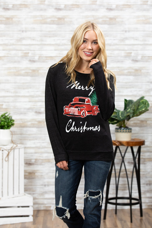 T3532X-MXTRK1BLK pickup truck with Christmas tree long sleeve sweatshirt plus size