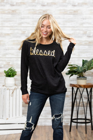 T3532X-BLDFOIL blessed foil long sleeve sweatshirt plus size