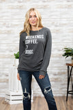 T3532 weekends coffee and dogs long sleeve sweatshirt
