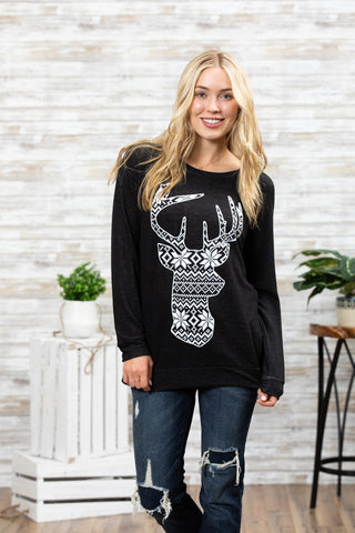 T3532 snow deer long sleeve sweatshirt