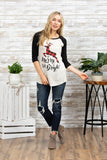 T6593X plaid deer be merry and bright elbow baseball plus size