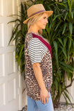 T10029-ANBRG short sleeve tie front animal V color block top