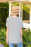 T10057-ANIVO short sleeve stripes & animal color block tie front top
