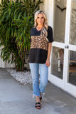 T9550-ANBLK short sleeve animal color block v-neck pocket top