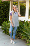 T9557-CAMOMVE short sleeve stripe and camo raglan top
