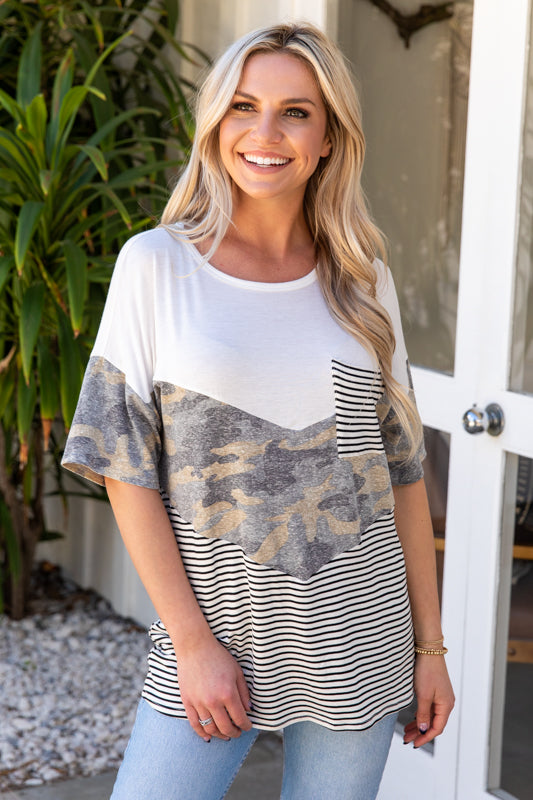 T9886-CAMO short sleeve camo and stripes chevron color block top