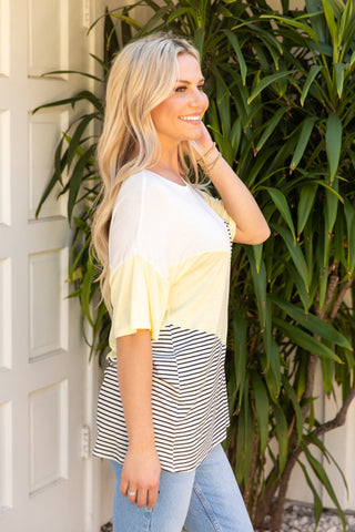T9886-YELLOW short sleeve color block stripe chevron  top