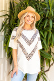 T9965-ANSPANIVO short sleeve animal chevron color block top