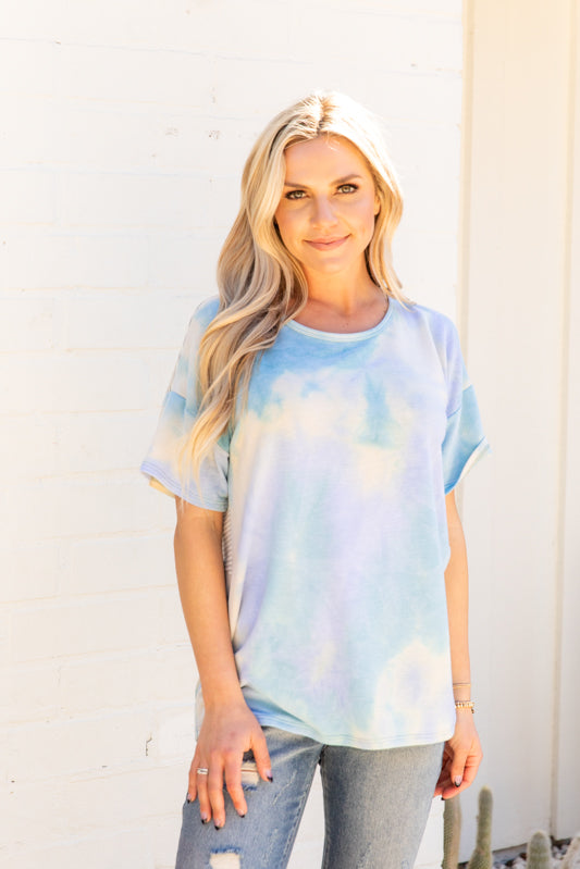 T9976-TYDBLUE short sleeve tie dye criss cross open back top