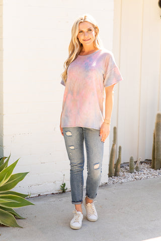 T9976-TYDMAUVE short sleeve tie dye criss cross open back top
