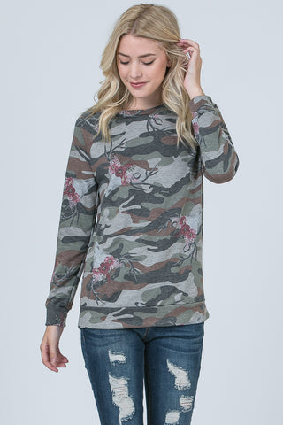 T3532 camouflage bull floral long sleeve sweatshirt