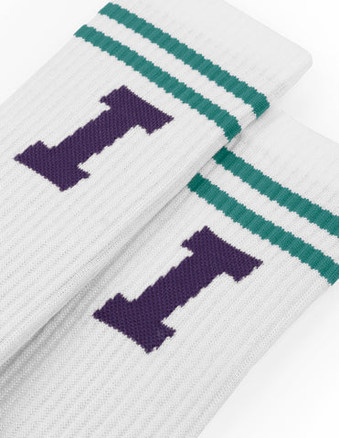 Icon Calf Socks - White / Teal / Purple