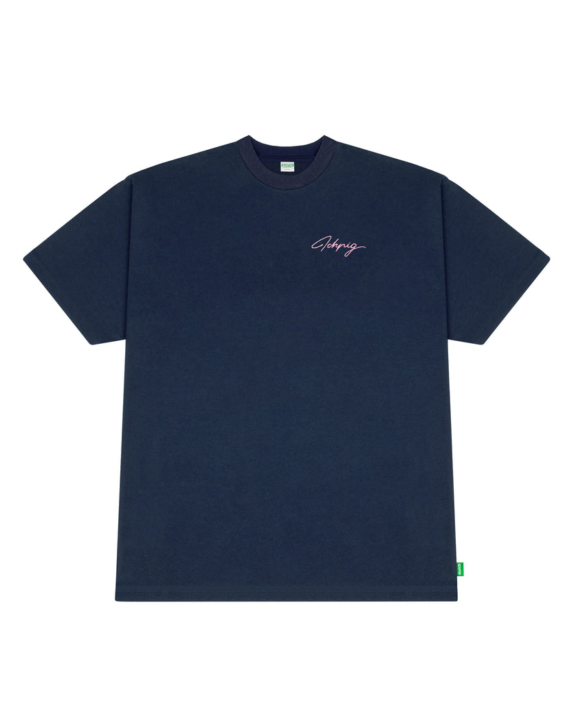 Script Embroidery Tee - Navy