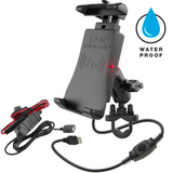 RAM-B-149Z-A-UN14W-V7M RAM Quick-Grip™ Waterproof Wireless Charging Handlebar Mount -  - RAM Mounts - Synergy Mounting Systems - RAM Mounts Authorized Dealer