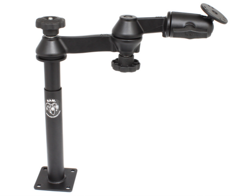 "RAM-VP-SW1-89 RAM Mounts Double Swing Arm w/ 2.5"" Round AMPS Hole Pattern Base -  - RAM Mounts - Synergy Mounting Systems - RAM Mounts Authorized Dealer"