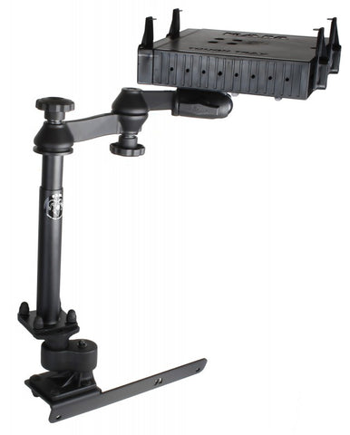 RAM-VB-178A-SW1-FL RAM Mounts No-Drill Laptop Mount with Adjust-A-Pole and Tough-Tray Flat Retaining Arms for the Dodge RAM 1500-5500 -  - RAM Mounts - Synergy Mounting Systems - RAM Mounts Authorized Dealer