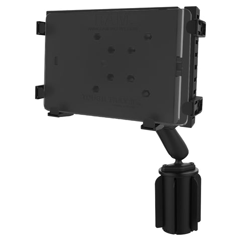 RAP-299-3-C-234-6U RAM Mounts Tough-Tray™ II Tablet Holder with RAM-A-CAN™ II Cup Holder Mount -  - tab - Synergy Mounting Systems - RAM Mounts Authorized Dealer