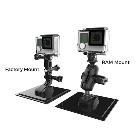 "RAP-B-GOP2-A-GOP1U RAM Mounts 1"" Ball Adapter for GoPro® Bases with Short Arm and Action Camera Adapter-RAM Mounts - Synergy Mounting Systems"