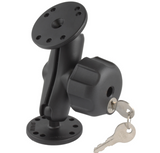 RAM-B-101LU RAM Mounts Double Ball Mount with Key Lock Knob -  - RAM Mounts - Synergy Mounting Systems - RAM Mounts Authorized Dealer