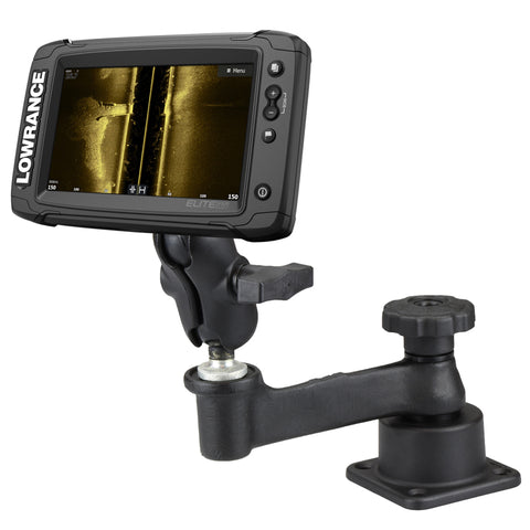 RAM-109H-2B-B-LO11 RAM Mounts Horizontal Swing Arm Mount for Lowrance Elite 4 & 7 Ti + More