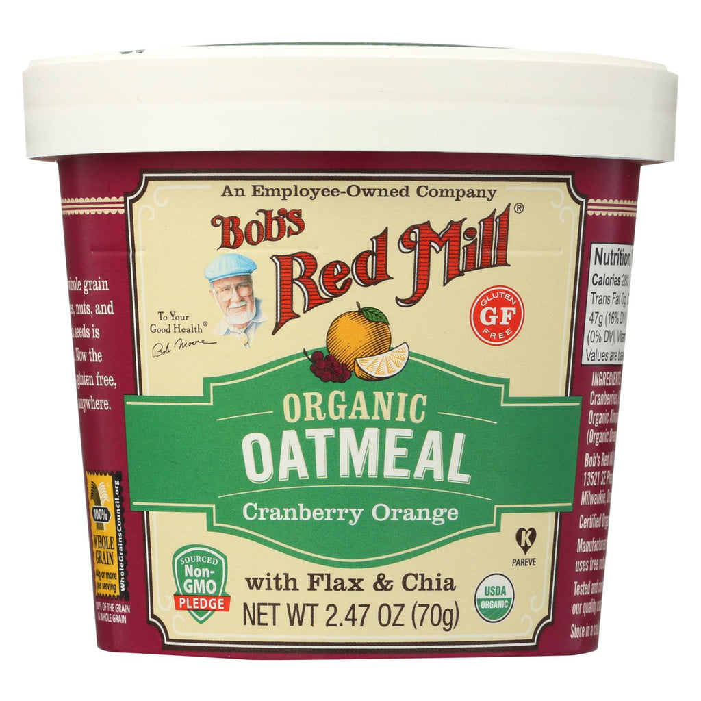 Bob's Red Mill Oatmeal Cup - Organic Cranberry Orange - Gluten Free - Case Of 12 - 2.47 Oz