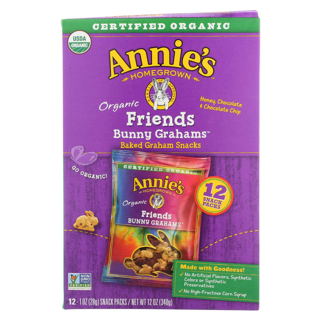 Annie's Homegrown Snack Pack - Organic - Bunny Grahms - Frd - 12 - Case Of 4 - 12-1 Oz